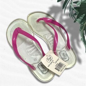 ⚡️ Clear Flip Flops with Pink Straps